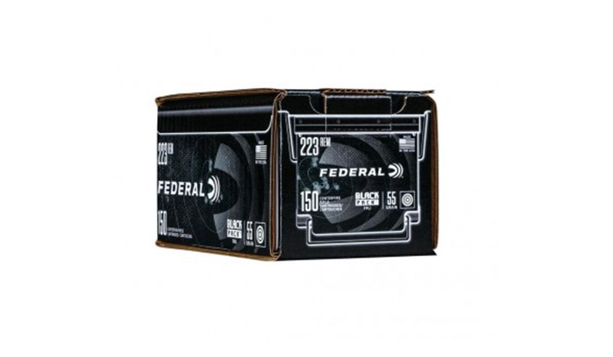 Case of Federal American Eagle .223 Remington 55 gr FMJ Black Pack, 600rds