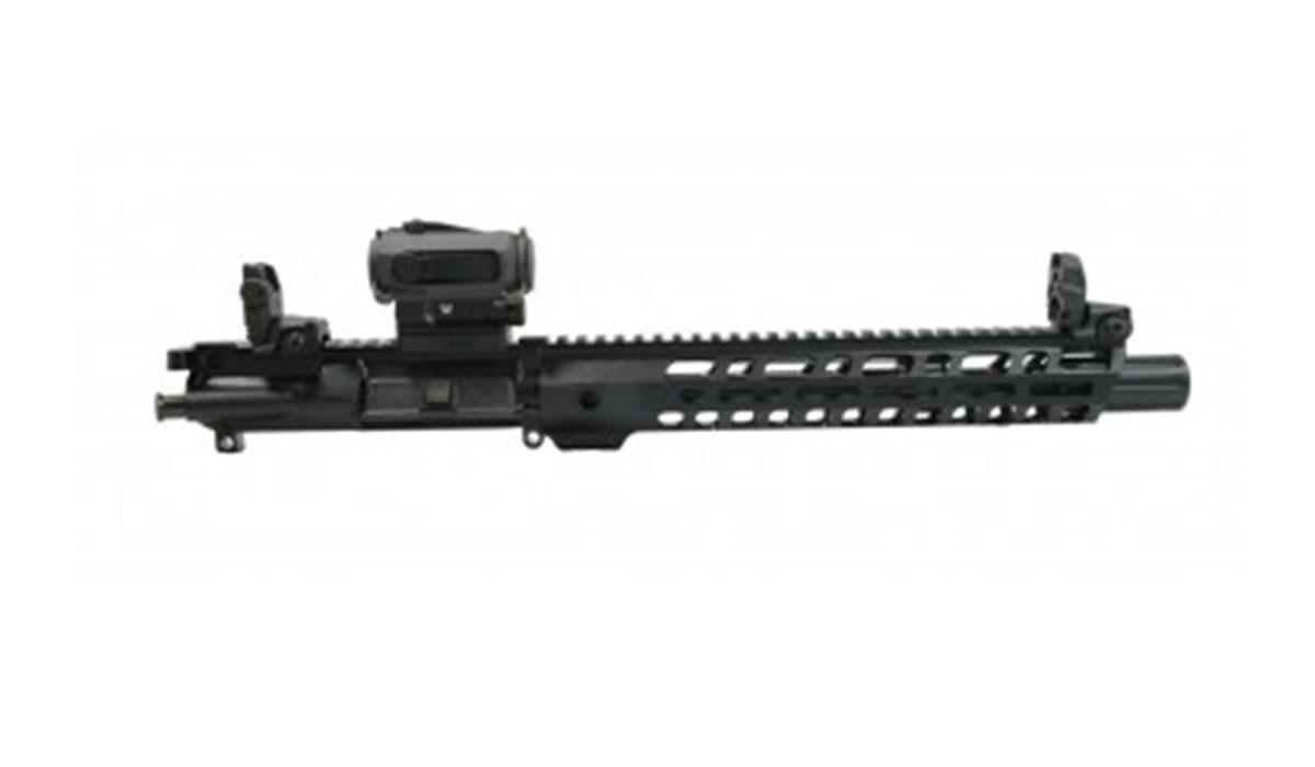 "PSA 10.5"" Carbine-Length 5.56 NATO 1/7 Nitride 12"" Slant M-lok Upper w/BCG, CH, MBUS Sight Set, & Sparc II"