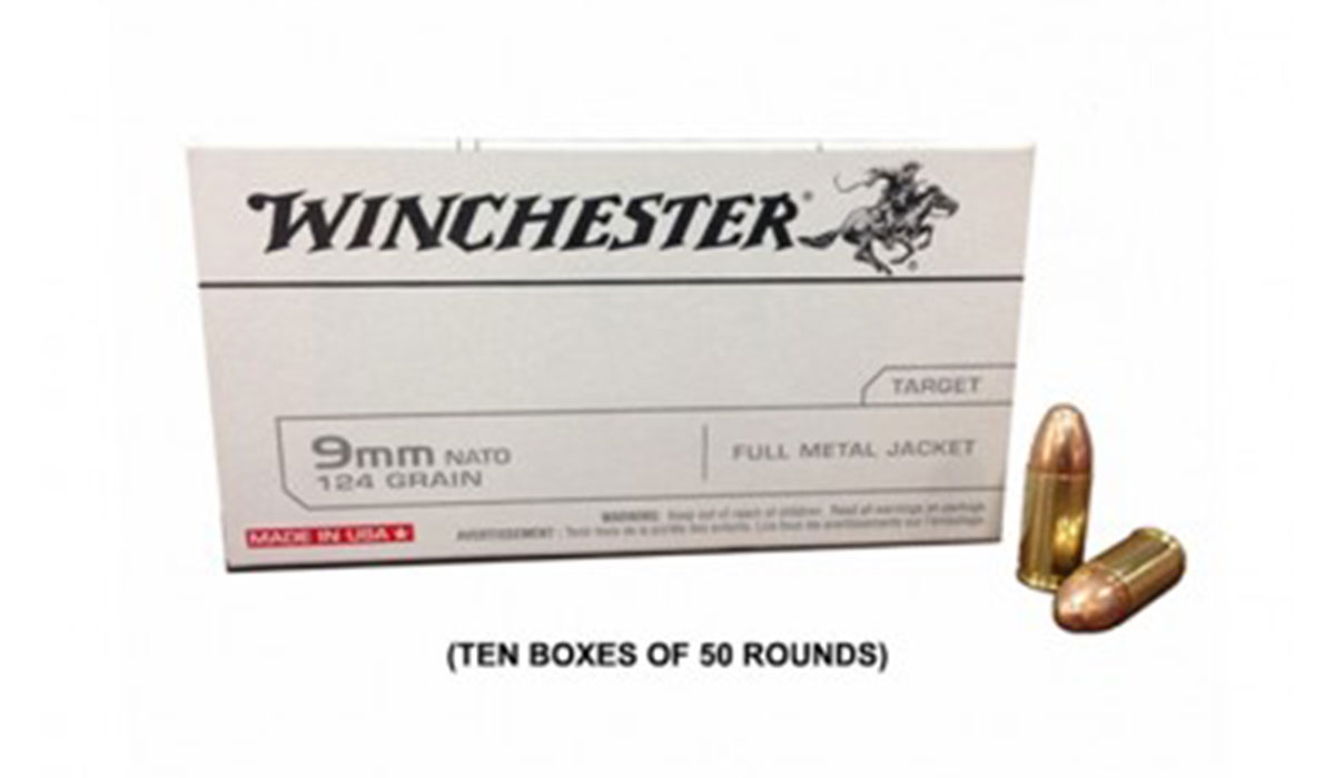 Winchester USA 9mm NATO 124gr FMJ Ammunition, 500 Round Case