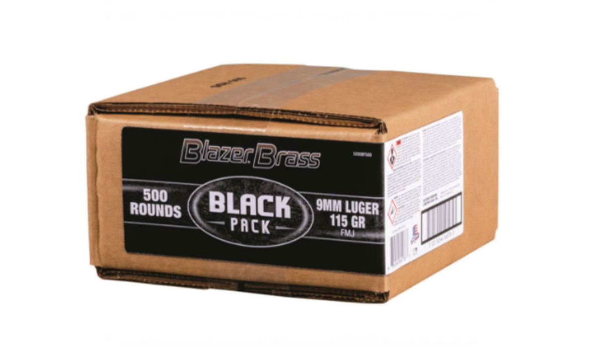 CCI Blazer Brass Black Label, 9mm, FMJ, 115 Grain, 500 Rounds in a Bulk Box